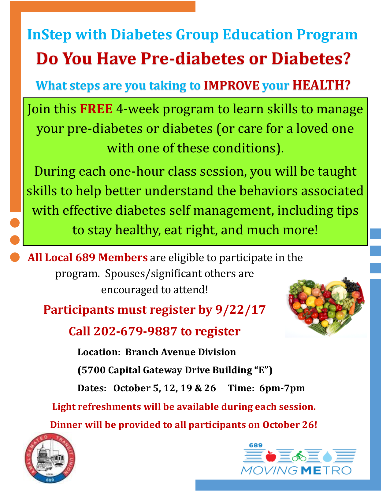 InStep with Diabetes Education Program Starting October!